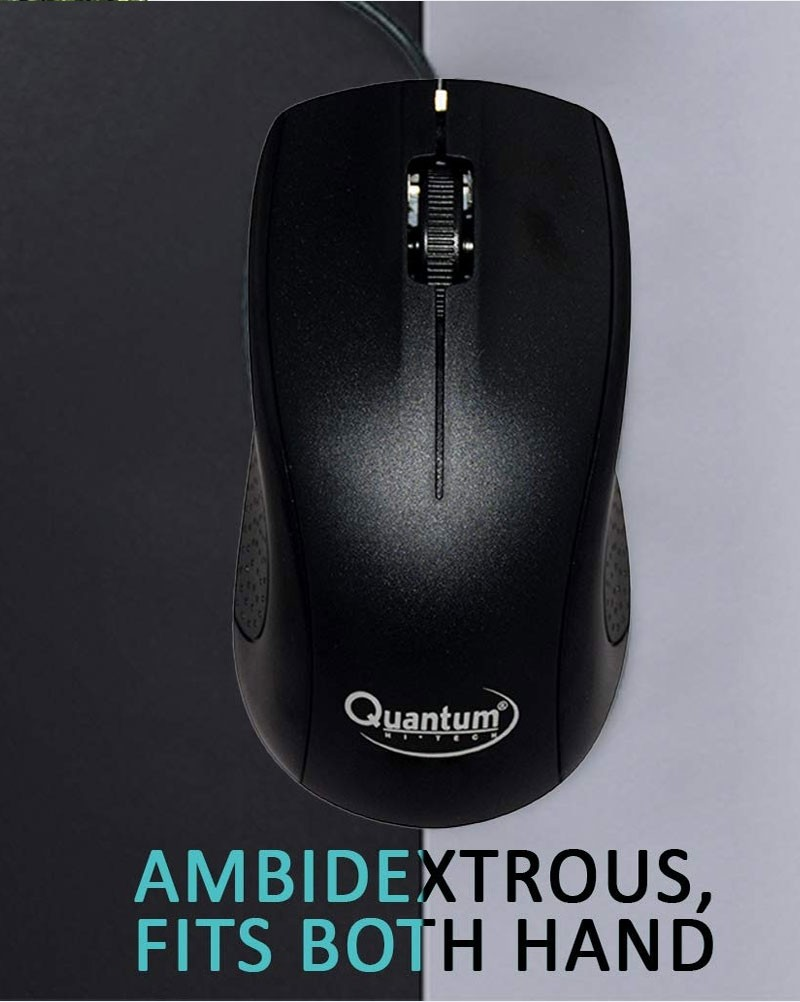 Quantum QHM232 3-Button 1000DPI Wired Optical Mouse (Black)